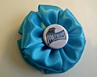Rose Bow with Panthers Button