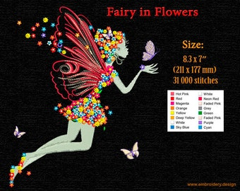 Fairy with Flowers and Butterflies embroidery design