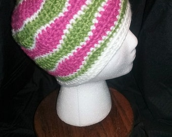 Children's Wave Stitch Hat: Hot Pink, Lime and White