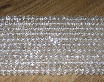 "4X8mm Clear Faceted Quartz 15"" strand"