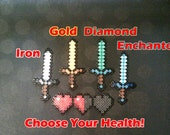 Minecraft Swords & Heart Health Bar! Choose from Wood, Stone, Iron, Gold, Enchanted or Diamond! Perler beads - great keychains or magnets!