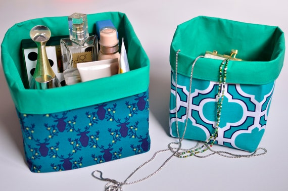 Items similar to textile storage bins fabric bins teal for Teal bathroom bin