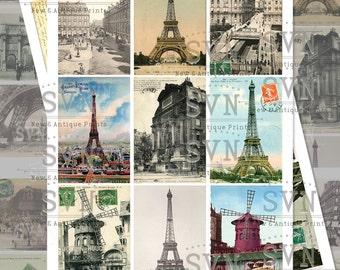 Paris Postcards -18 differents vintage postals of the city - Printable ATC Cards Digital Collage Sheet