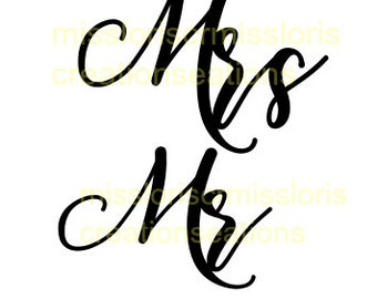 Mr and Mrs  SVG Cut file Fabric, wedding mugs, bride shirtsscrapbook vinyl decal wood sign cricut cameo Commercial use
