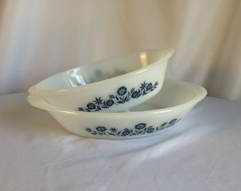 Vintage Ovenware Bakeware Serving Dish Divided Serving Dish with Blue Flowers ReasonsBecause