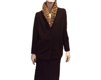 Custom Suit with Leopard Collar