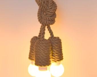 "Jute pendant light made from sailing rope, 60cm (~24"") , rustic light, industrial lighting, loft lighting, beach house light, nautical lamp"
