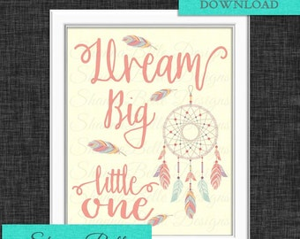 Dream Big - Falling Feathers - 8x10 Printable Sign - Instant Download