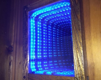infinity mirror portal. electric blue led infinity mirror handcrafted with wood frame portal