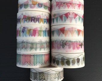 """CLEARANCE! 24"""" SAMPLES of Bunting washi tape (M07)"""