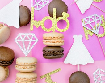 12 Engagement Cupcake Toppers, Wedding Cupcakes, Diamond Cupcake Top, Engagement, Bridal Shower Topper, Engagement Party, Bride to Be, I Do
