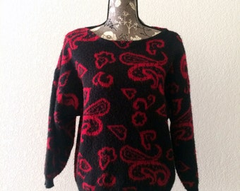 1980s Boatneck Sweater, Vintage Sweater, Black and Red Sweater