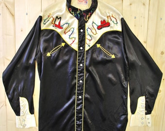 Vintage 1950's/60's Black Embroidered Satin Western Shirt/ Rodeo Shirt / Cowpunk / Retro Collectable Rare