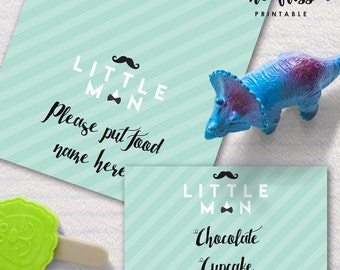Little Man Party Food Label | Tents Card | Editable PDF File | Instant Download | Personalize at home with Adobe Reader