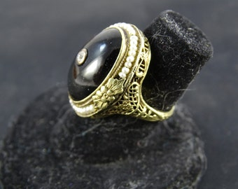 Estate 14k Antique Victorian Onyx Filigree Ring (size4.75)(b3)