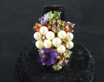 Vintage 14k Gold with Gemstones and Pearls size 6 (b3)