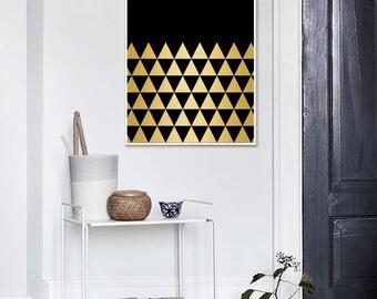 Gold Black, Triangle Art, Gold and Black Geometric, Gold Triangle, Black Triangle Print, Printable Art, Affiche Geometrique
