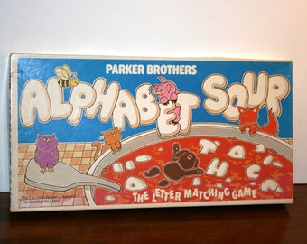 1981 Alphabet Soup Board Game//Parker Brothers//No Reading Required Game//Vintage Board Game