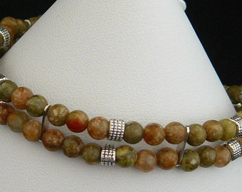 Simple 2 Strand Green and Rose Autumn Jasper Bracelet with Silver Accents and Lobster Claw Clasp