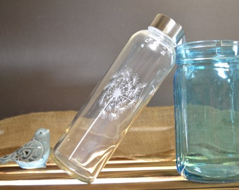 Etched Glass Water Bottle with Dandelion Design