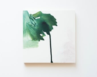 Minimal Abstract Painting with Green and Pink, 8x8""