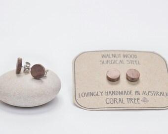Wooden Stud Earrings - Walnut wood