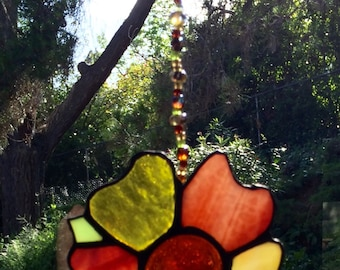 Pansy stained glass suncatcher