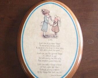 Vintage 1975 Holly Hobby Oval Mahogany Wood plaque