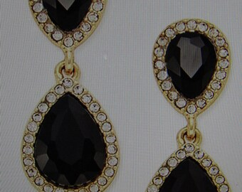 Elegant Jet Crystal Drop Earrings