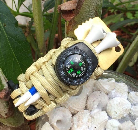 """Golfers Survival Paracord Bracelet, I call it """"The Golf Caddy """",comes with a  clip on compass and lots more"""