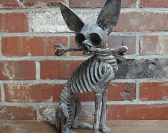 Large, Oaxaca, Mexico, Chihuahua, Skeleton, Folkart,  Wood Carving