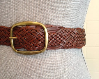 Vintage brown leather belt / woven braided leather belt / gold buckle
