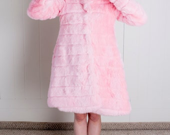 Sixties Inspired Pink Faux Fur Tent/Swing Coat! - 1960's 60s S/M/L