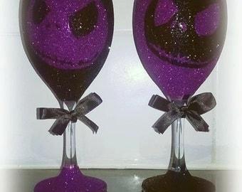 2 x Jack Skellington Glitter Glasses
