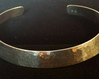 Hammered .925 Sterling Silver Cuff Choker Necklace