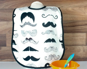 Large bib cream and black Moustache for child and baby