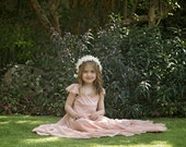 "Coral Flower Girl Dress -- The ""Rebekah"" in Coral"