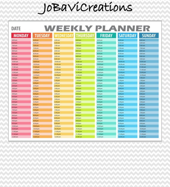 ... Weekly Scheme. Hourly Weekly Organizer Printable. Daily Planner