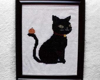 Halloween black cat wall decor - Finished cross stitch wall decor