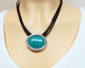 Statement Turquoise Jewelry, Turquoise And Silver Pendant, Gemstone Stone Pendant, Statement Silver Pendant, Statement Turquoise Choker,