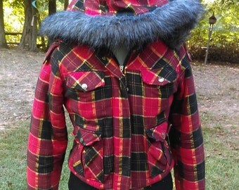 Women's vintage Western Plaid Coat By Blue Axes