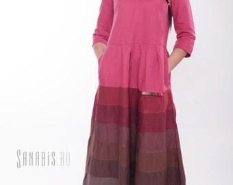 Linen Maxi Dress, Ladies Long Boho Dress, Women's Linen Dress, Red Dress
