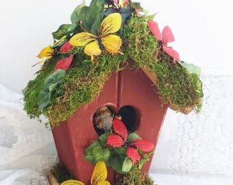 Gnome Rustic Birdhouse Red and Green Fairy Gifts Whimsical  Mossy Woodland House Gnome Decor