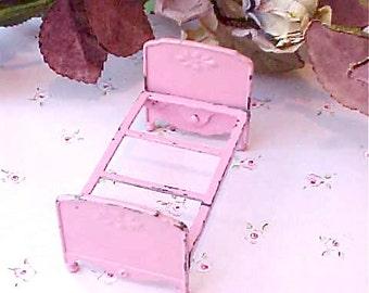 Adorable Little Vintage Sherbert Pink Metal Doll Bed