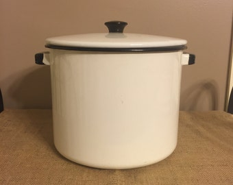 Vintage Enamel Black and White Pot with Lid