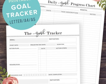 Goal Tracker Printable, Goal Planner Pages, 2016 Goals, Project, Fitness Diary, Printable Planner Inserts, A5, A4, US Letter, PRINTABLE PDF