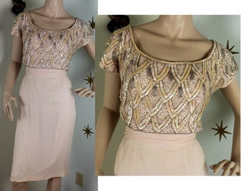 Vintage 1950s pink beaded silk chiffon wiggle dress small 325
