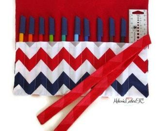 Crayon\crochet\pinceau - Chevron case, Red