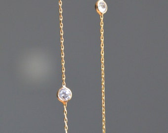 Gold sparkly cz necklace, cz by the yard, link chain, celebrity inspired, clear cubic zirconia, FREE SHIPPING