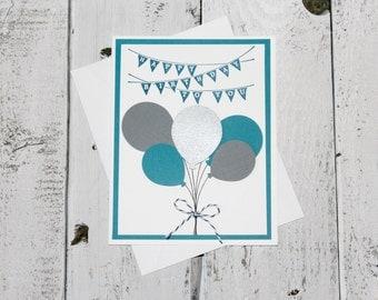 Handmade Blue Balloon Bouquet Birthday Card